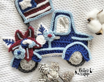 Crochet Pattern - Instant PDF DOWNLOAD - Nellas Cottage - Truck - Vintage Truck - Freedom Truck - America - 4th of July Truck - 4th of July
