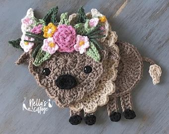 Crochet Pattern - INSTANT PDF DOWNLOAD - Buffalo - Bison - Boho Buffalo - Crochet Buffalo - Crochet Bison - Boho Bison - Floral Buffalo