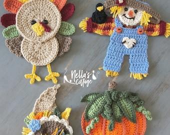 Crochet Pattern - INSTANT PDF DOWNLOAD - Fall Harvest - Crochet Patterns - Fall Crochet Patterns - Scarecrow - Pumpkin - Turkey - Cornucopia