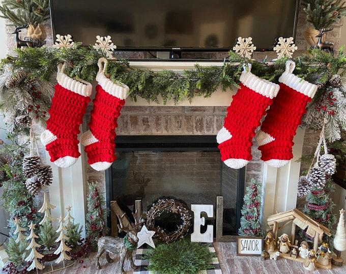 Featured listing image: Classic Amara Stocking - Original Amara Stocking - Crocheted Stocking - Farmhouse Stocking - Rustic Christmas Stockings - Nellas Cottage