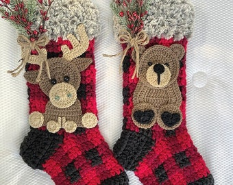 Crochet Christmas Stocking - Christmas Stocking - Moose - Bear - Stocking -Christmas - Kids Stockings
