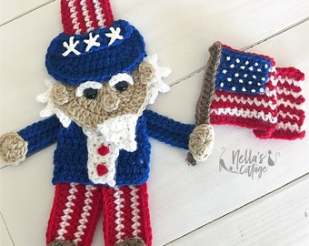Crochet Pattern - INSTANT PDF DOWNLOAD - Uncle Sam - Crochet Uncle Sam - Applique Pattern - Crochet Applique Pattern - 4th of July