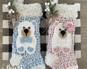 Luxury Crocheted Christmas Stocking - Christmas Stocking - Handmade Stocking- Baby's 1st Stocking - Bear - Made In USA
