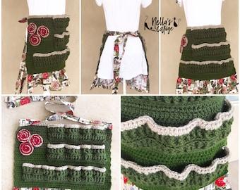 Crochet Pattern - INSTANT PDF DOWNLOAD - Crochet Egg Apron - Farmhouse Apron - Amara Apron - Nellas Cottage - Crochet Egg Collecting Apron