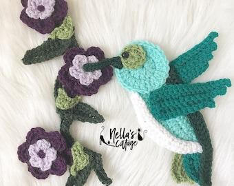 Crochet Pattern - INSTANT PDF DOWNLOAD - Nellas Cottage - Hummingbird - Crochet Hummingbird - Hummingbird Pattern - Crochet Patterns