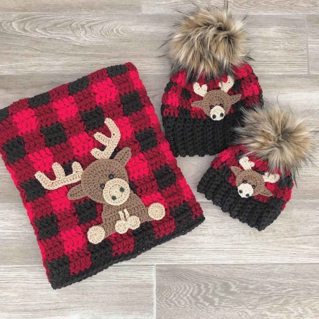 Crochet Baby Blanket Baby Blanket Handmade Baby Blanket Moose Baby Blanket Crocheted Blanket Baby Moose Plaid Buffalo Plaid