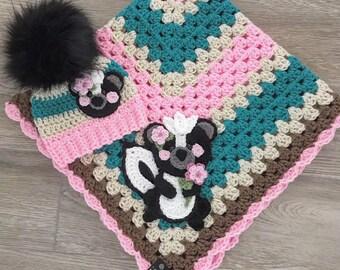 Crochet Baby Blanket - Baby Blanket - Handmade Baby Blanket - Skunk Baby Blanket - Crocheted Baby Blanket - Baby  Skunk