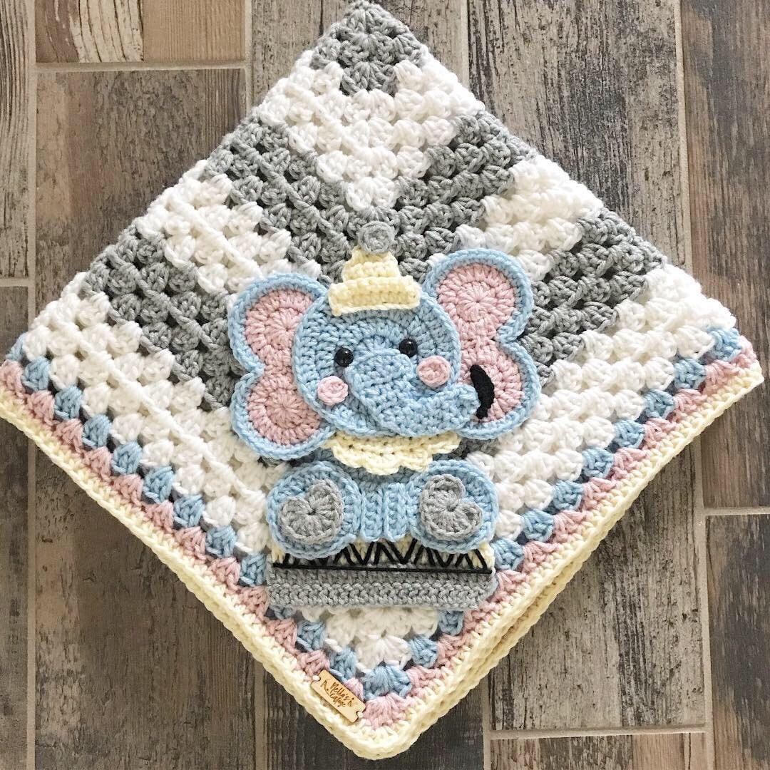 Amigurumi First Toy Elephant Crochet Security Blanket Pattern | 1080x1080