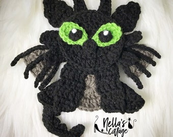 Crochet Pattern - INSTANT PDF DOWNLOAD - Dragon - Black Dragon - Dragon Applique - Crochet Dragon - Crochet Dragon Applique - Nellas Cottage