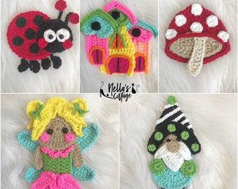 Crochet Pattern - INSTANT PDF DOWNLOAD - Garden Fairy Friends - Fairy - Lady Bug - Gnome - Castle - Toadstool - Crochet - Pattern - Nella