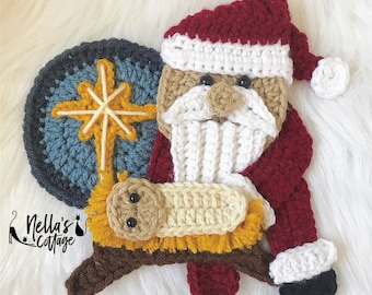 Crochet Pattern - INSTANT PDF DOWNLOAD - Nellas Cottage - Every Knee Will Bow - Crochet Santa and Jesus - Baby Jesus - Christmas Patterns