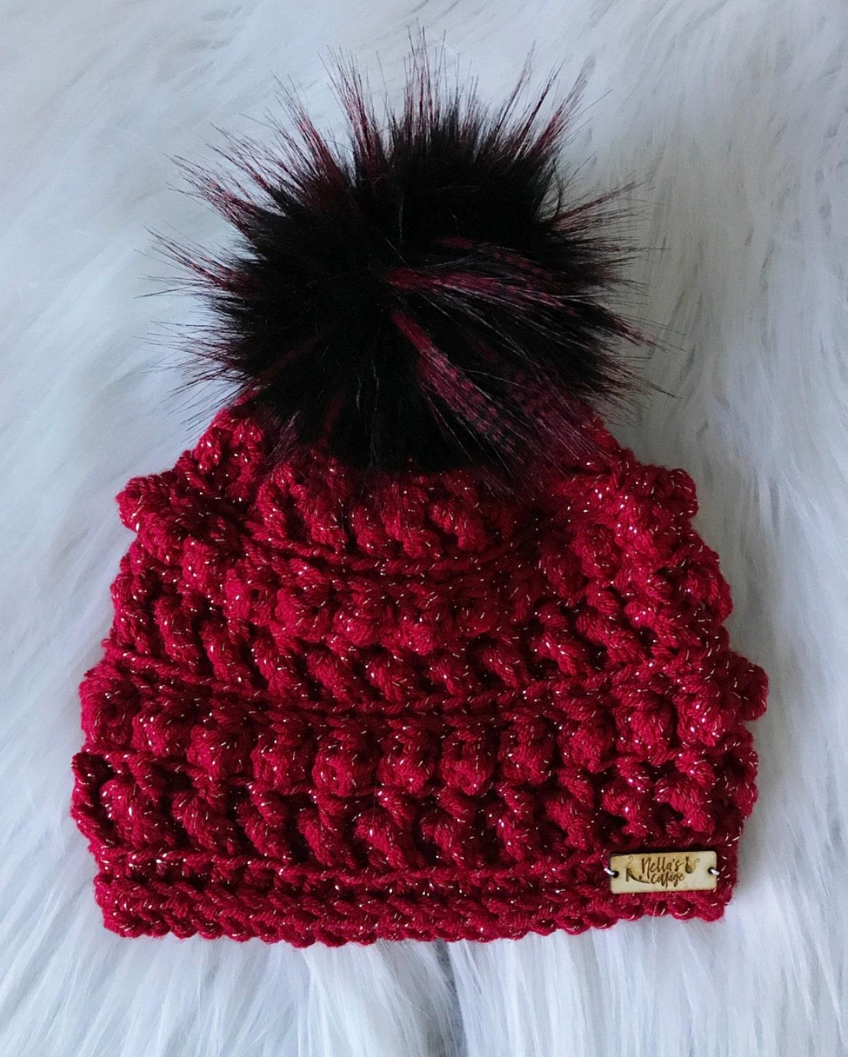 db0503802b3 Sparkle Cranberry Beanie - Handmade Hat - Handmade Beanie - Crocheted Beanie  - Winter Hats - Faux Fur - Gifts for Her