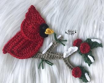 Crochet Pattern - INSTANT PDF DOWNLOAD - Cardinal - Crochet Cardinal - Christmas Cardinal - Cardinal Pattern - Bird Pattern - Nellas Cottage