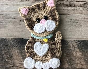 Crochet Pattern - INSTANT PDF DOWNLOAD - Pattern - Applique - Kitty - Cat - Crocheted - Handmade - Purr- Cute - Kitten - Kitty Cat