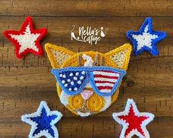 Crochet Pattern - INSTANT PDF DOWNLOAD - Nellas Cottage - America - Usa - Cat - Crochet Cat - Patriot Cat - Meowica - Merica - American Cat