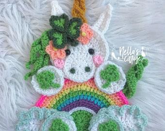 Crochet Pattern - INSTANT PDF DOWNLOAD - Unicorn Pattern - Crochet Unicorn - Lucky - St Patricks Day - Unicorns - Unicorn Applique