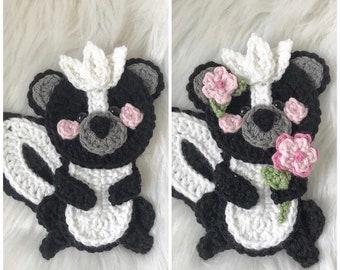 Crochet Pattern - INSTANT PDF DOWNLOAD - Crochet Applique - Applique Pattern - Skunk - Boho Skunk - Skunk Pattern - Crochet Skunk Pattern