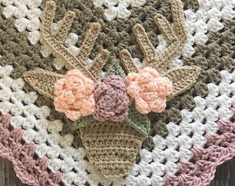 Crochet Pattern - INSTANT PDF DOWNLOAD - Crochet Deer - Boho Buck - Crochet Buck Head - Deer Head - Boho Buck Head - Boho Deer Head