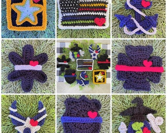 Crochet Pattern - INSTANT PDF DOWNLOAD - Nella's Cottage - America's Heroes - First Responders - Military - Crochet - Appliques - Thin Line
