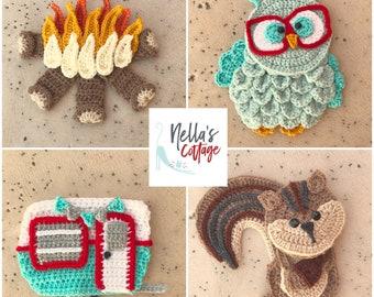 Crochet Pattern - INSTANT PDF DOWNLOAD - Crochet Patterns - Applique Patterns - Camping Patterns - Owl Pattern - Chipmunk - Camper