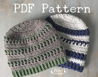 Crochet Pattern - INSTANT PDF DOWNLOAD - Mens Hat Pattern - Crocheted Hat Pattern - Mens Beanie - Beanie Pattern - Pattern - Hat - Mens