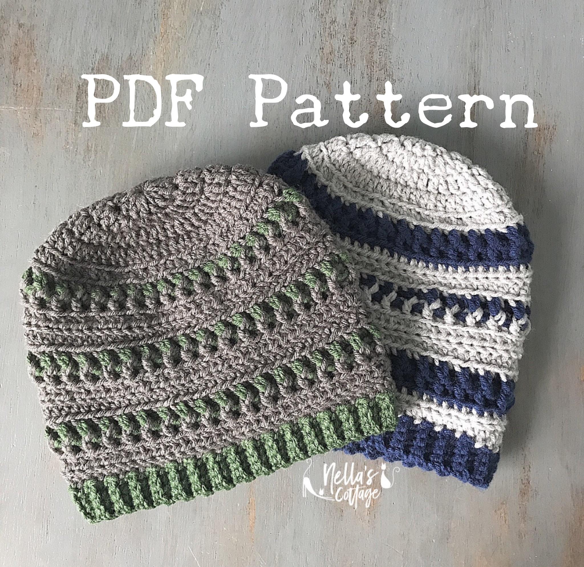 Crochet Pattern Instant Pdf Download Mens Hat Pattern Etsy