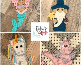 Crochet Pattern - INSTANT DOWNLOAD PDF - Crochet Patterns - Applique Patterns - Wizard - Mermaid -Unicorn - Dragon