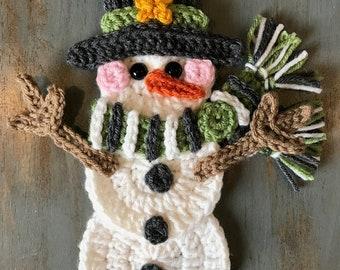 Crochet Pattern - INSTANT PDF DOWNLOAD - Snowman - Snowman Pattern - Crochet Snowman - Crochet - Applique Pattern - Christmas Pattern