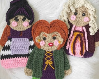 Crochet Pattern - INSTANT PDF DOWNLOAD - Crochet - Witches - Halloween - Sister Witches - Halloween Witches - Crochet Witches - Crochet