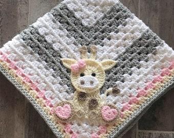 Crochet Baby Blanket - Baby Blanket - Handmade Baby Blanket - Giraffe Baby Blanket - Crocheted Baby Blanket - Baby Giraffe