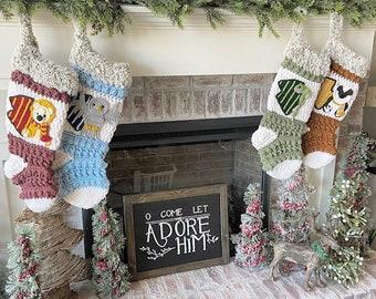 Luxury Crocheted Christmas Stocking - Christmas Stocking - Handmade- Wizard House Stockings - Made In USA