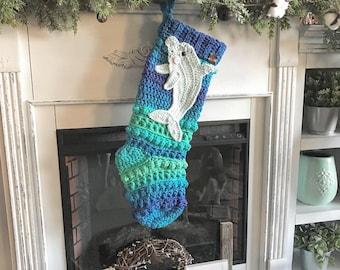 Dolphin Stocking - Crocheted Stocking - Amara Stocking - Christmas Stocking - Christmas Decor - Dolphins - Dolphin Crochet