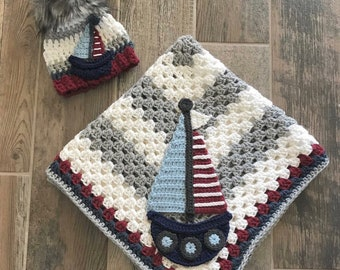 Handmade Baby Blanket - Crochet Baby Blanket - Sail Boat Blanket - Orca Baby Blanket - Crochet Sail Boat Blanket- Nautical