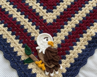 Crochet Baby Blanket - Baby Blanket - Handmade Baby Blanket - Patriotic Baby Blanket - Crocheted Baby Blanket - Baby Eagle - USA