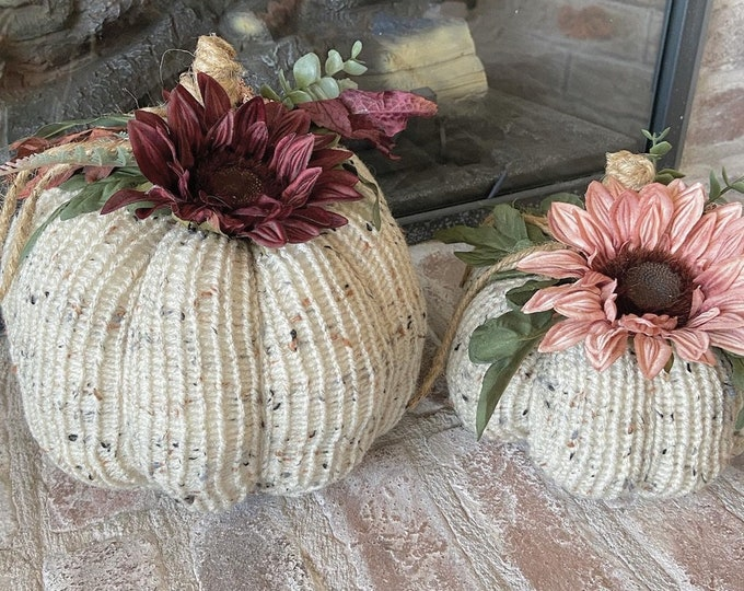 Featured listing image: Fall Knit Pumpkins - Floral Pumpkins - Fall Decor - Fall Home Decor - Nellas Cottage