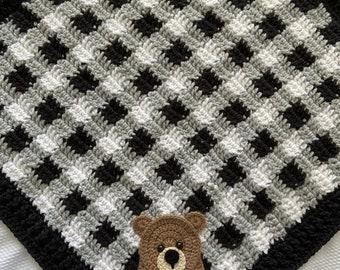 Crochet Baby Blanket - Baby Blanket - Handmade Baby Blanket - Bear Baby Blanket - Crocheted Blanket - Baby Bear - Plaid - Buffalo Plaid