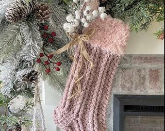 Luxury Crocheted Christmas Stocking - Rustic Christmas Decor - Christmas Stocking - Handmade Stocking