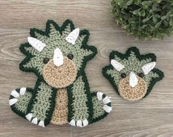 Crochet Pattern - INSTANT PDF DOWNLOAD - Nellas Cottage - Crochet - Dinosaur - Triceratops - Crochet Triceratops - Crochet Dinosaur