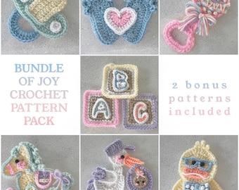 Crochet Pattern - INSTANT PDF DOWNLOAD - Crochet  Baby - Bundle of Joy - Nellas Cottage - Crochet Stork - Baby Rattle - Baby - Pacifier