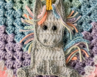 Crochet Pattern - INSTANT DOWNLOAD PDF - Crochet Pattern - Applique Pattern - Unicorn Pattern - Crocheted Unicorn Pattern