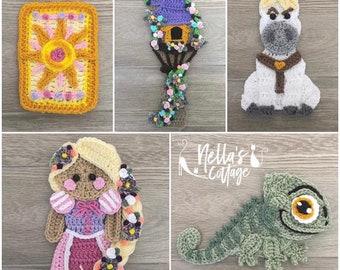 Crochet Pattern - INSTANT PDF DOWNLOAD - Crochet Fairytale Applique Patterns - Fairytales - Appliques - Patterns - Crochet Patterns