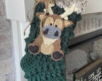 Crochet Christmas Stocking - Christmas Stocking - Reindeer - Reindeer Stocking - Farmhouse Stockings - Kids Stockings
