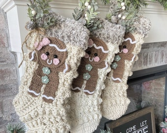 Crochet Christmas Stocking - Christmas Stocking - Farmhouse - Gingerbread - Gingerbread Stockings- Kids Stockings