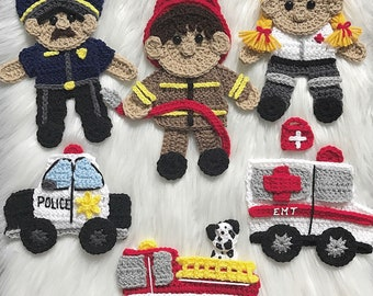 Crochet Pattern - INSTANT PDF DOWNLOAD - First Responders - Police - Firefighters - Paramedic - Crochet - Patterns - Crochet Cop - Rescue