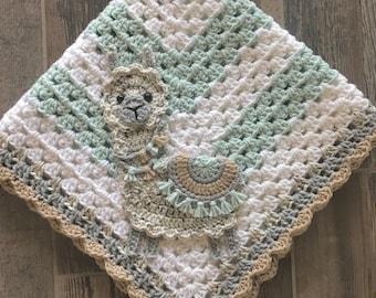 Baby Blanket - Crocheted Blanket - Blanket - Bedding - Baby Bedding - Llama Blanket - Llama Bedding - Nursery Bedding