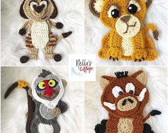 Crochet Pattern - INSTANT PDF DOWNLOAD - Lion - Meerkat - Monkey - Baboon - Warthog - Nellas Cottage Patterns - Crochet - Crochet Applique