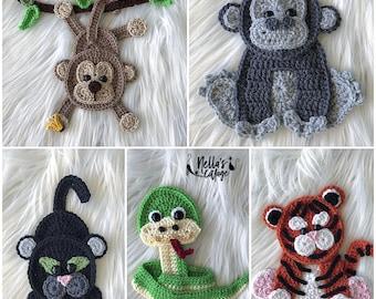 Crochet Pattern - INSTANT PDF DOWNLOAD - Jungle Animals - Crochet Animals - Crochet Jungle Animals - Appliqués - Patterns - Pattern