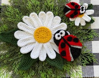 Crochet Pattern - INSTANT PDF DOWNLOAD - Nellas Cottage - Ladybugs - Daisies - Daisy - Ladybug - Crochet - Applique - Flowers - Crocheted