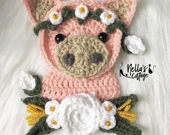 Crochet Pattern - INSTANT PDF DOWNLOAD - Crochet Applique - Applique Pattern - Crochet Pig - Boho Pig - Flower Pig - Nellas Cottage - Pig