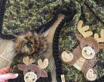 Crochet Baby Blanket - Baby Blanket - Handmade Baby Blanket - MooseBaby Blanket - Crocheted Baby Blanket - Baby Moose